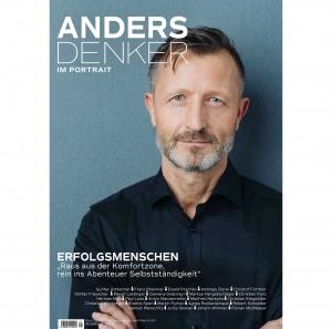Yuppie mit Bart auf Titelseite eines Magazins